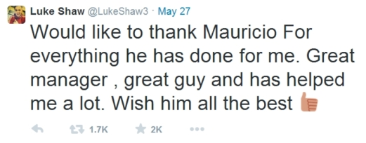 Luke Shaw's Pochettino tweet