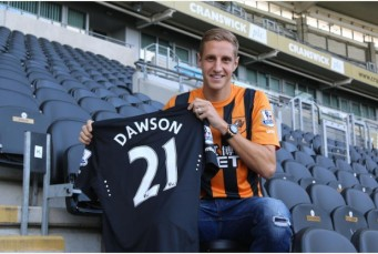 Michael Dawson in a Hull shirt